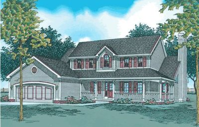 Country Style Home Design Plan: 10-392