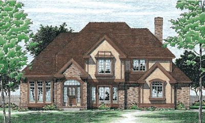 European Style Home Design Plan: 10-399