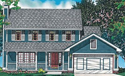 Country Style Home Design Plan: 10-457