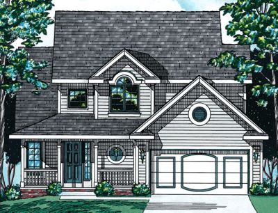 Country Style Home Design Plan: 10-538