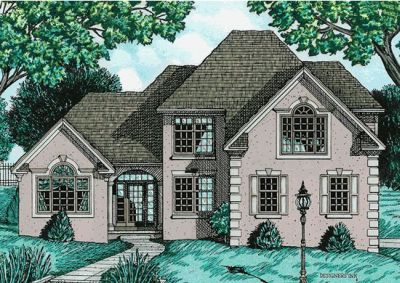 European Style Home Design Plan: 10-628