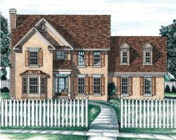 Colonial Style Home Design Plan: 10-635