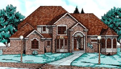 European Style Home Design Plan: 10-643