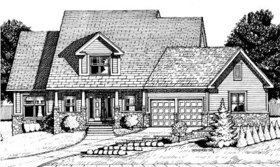 Country Style Home Design Plan: 10-686