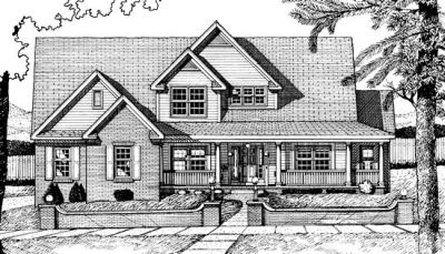 Country Style Home Design Plan: 10-704