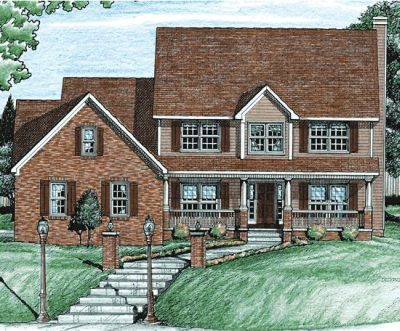 Country Style Home Design Plan: 10-708