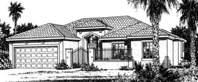 Southwest Style Home Design Plan: 10-818