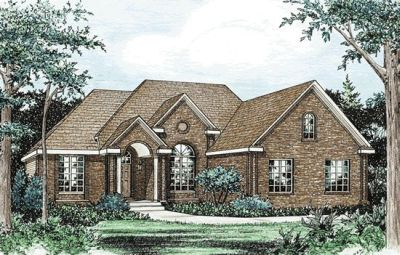 European Style Home Design Plan: 10-829