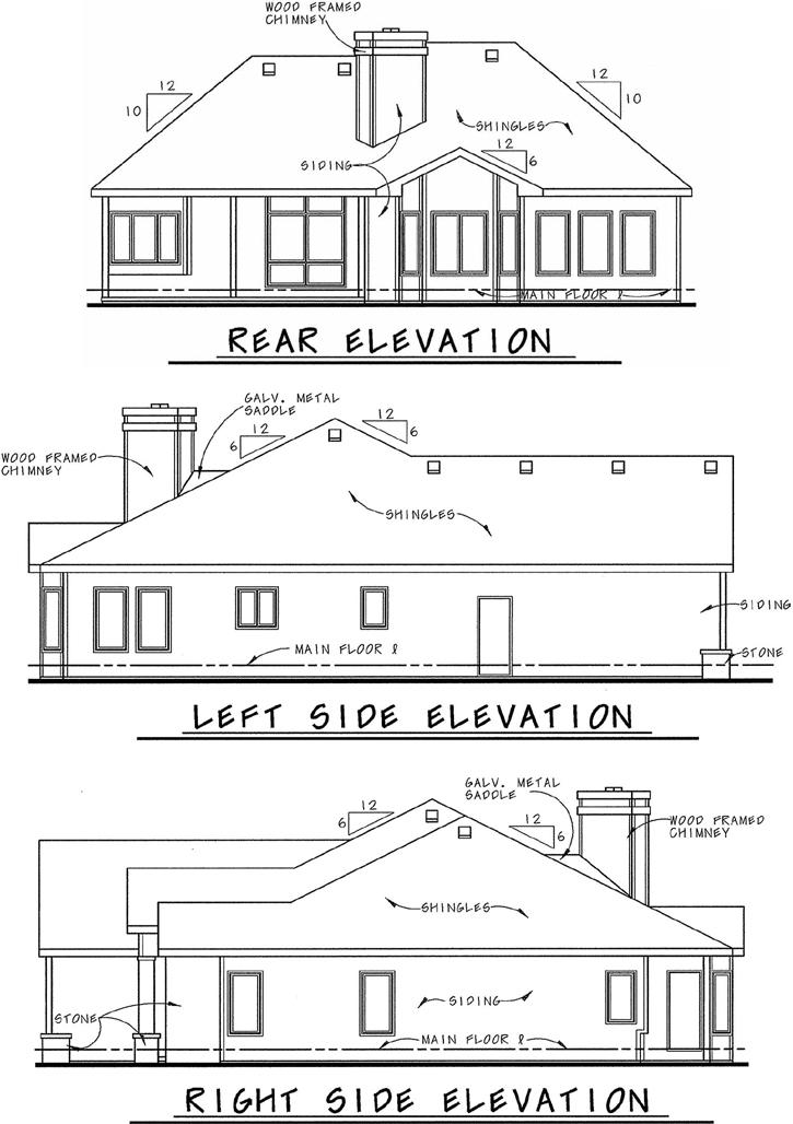 Rear Elevation Plan: 10-845