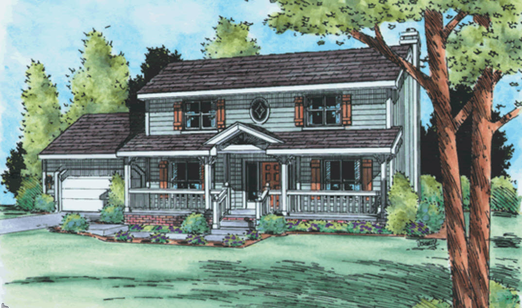 Country Style Home Design Plan: 10-978