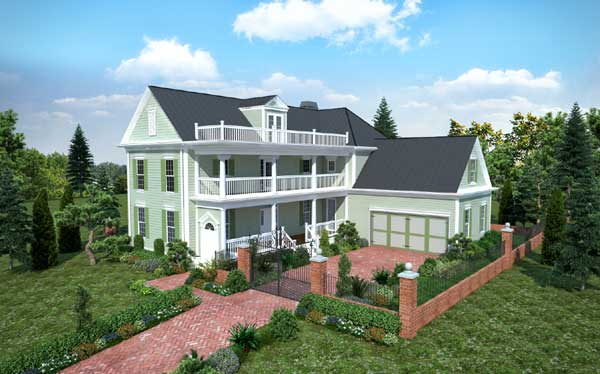 Southern-colonial Style Home Design Plan: 102-103