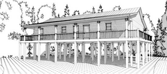 Coastal Style Home Design Plan: 103-294