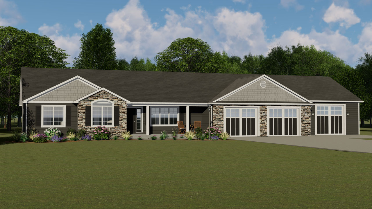 Ranch Style Home Design Plan: 104-195