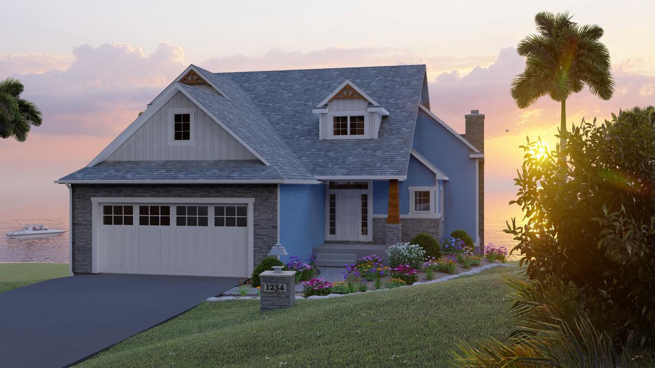 Craftsman Style Home Design Plan: 104-207