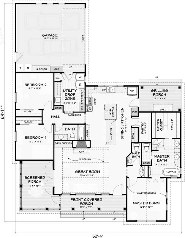 Main Floor Plan: 105-115