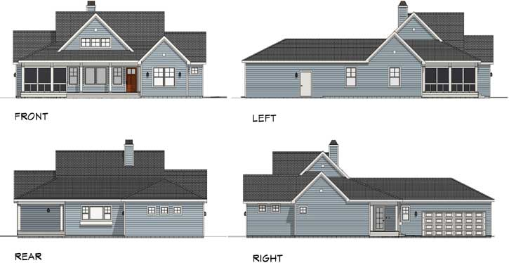 Rear Elevation Plan: 105-115