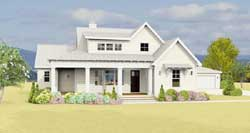 Modern-Farmhouse Style Home Design Plan: 105-116