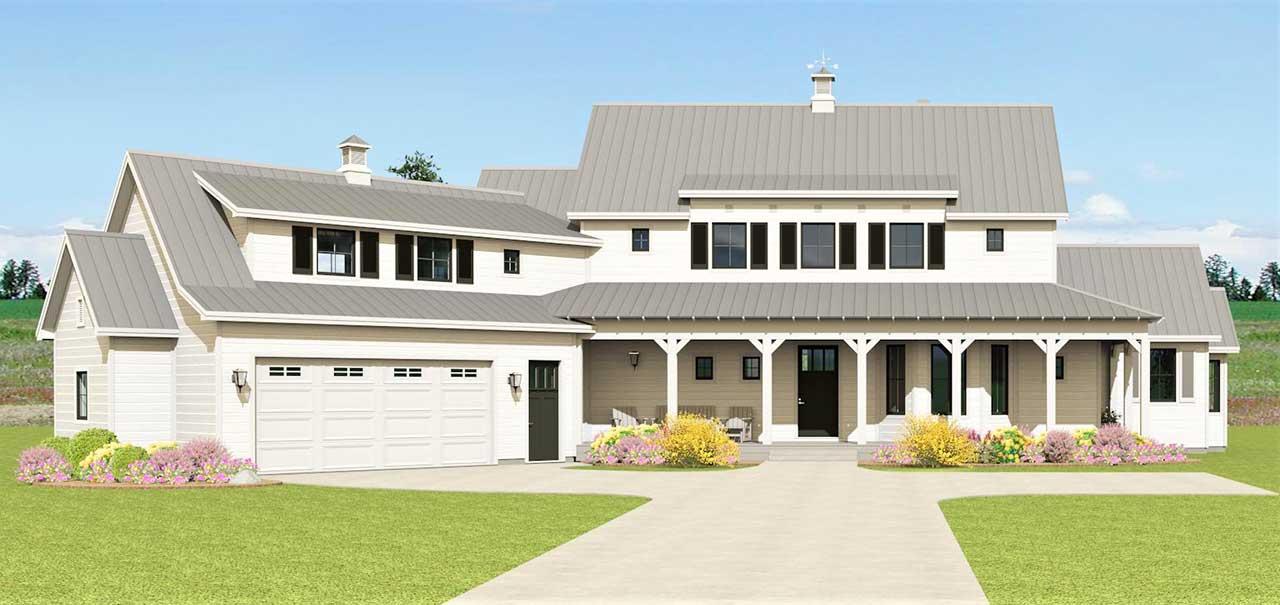 Modern-farmhouse Style Home Design Plan: 105-117