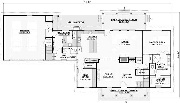 Main Floor Plan: 105-121