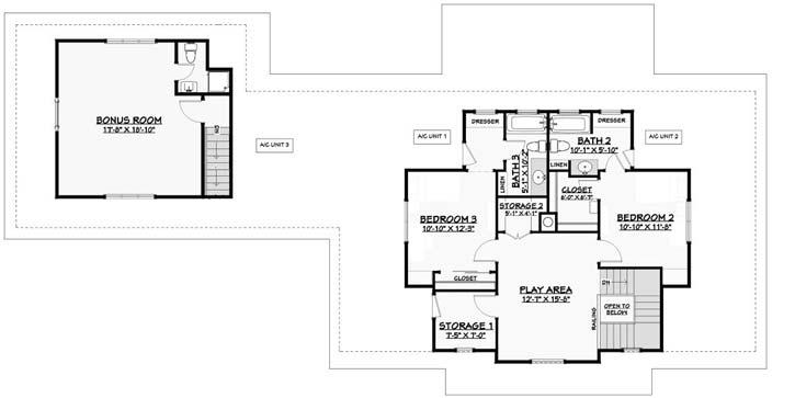 Upper/Second Floor Plan: 105-121