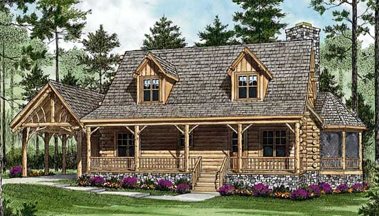 Log-cabin House Plan - 2 Bedrooms, 2 Bath, 1762 Sq Ft Plan ...