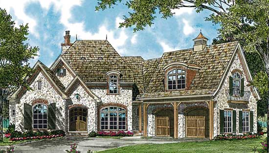 European Style Home Design Plan: 106-298