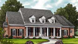 Southern-Colonial Style Home Design Plan: 106-324