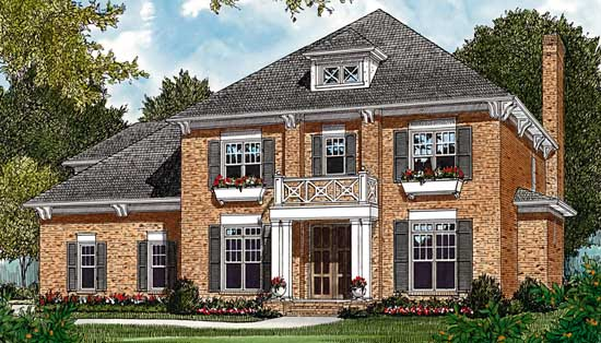 Colonial Style Home Design Plan: 106-431