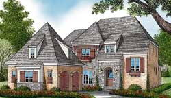 English-Country Style Home Design Plan: 106-491