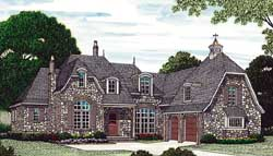 English-Country Style Home Design Plan: 106-532