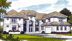 Mediterranean Style Home Design Plan: 106-615