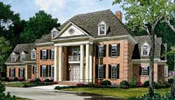 Southern-Colonial Style Home Design Plan: 106-624