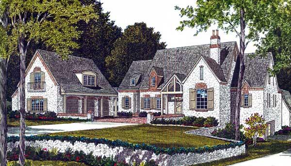 European Style Home Design Plan: 106-652