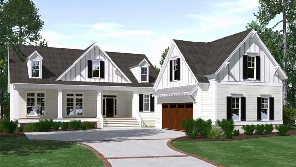 Modern-farmhouse Style Home Design Plan: 109-123