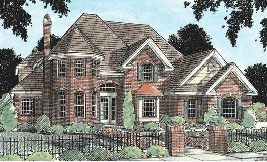 European Style Home Design Plan: 11-117