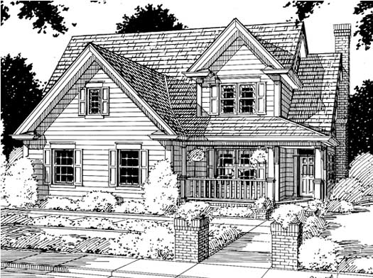 Country Style Home Design Plan: 11-141
