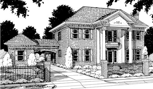 Georgian Style Home Design Plan: 11-143