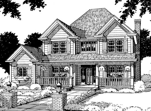 Country Style Home Design Plan: 11-146