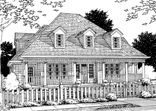 Southern Style Home Design Plan: 11-170