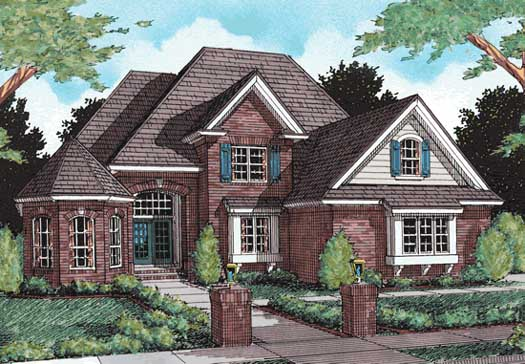 European Style Home Design Plan: 11-173