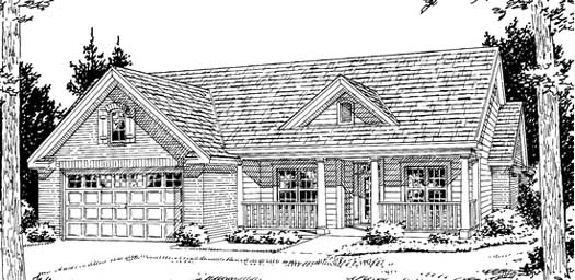 Ranch Style Home Design Plan: 11-222