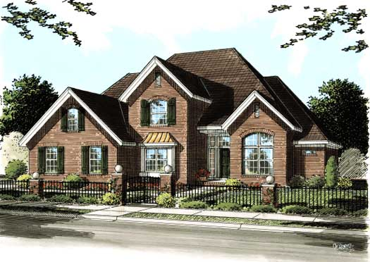 European Style Home Design Plan: 11-274