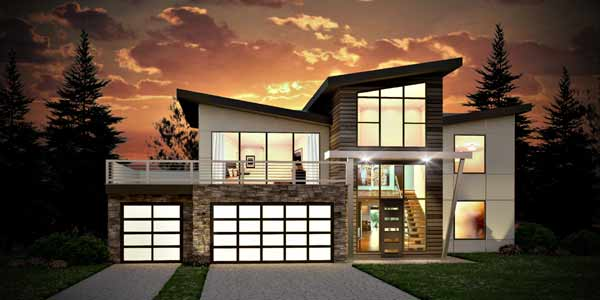 Modern Style House Plans Plan: 115-102