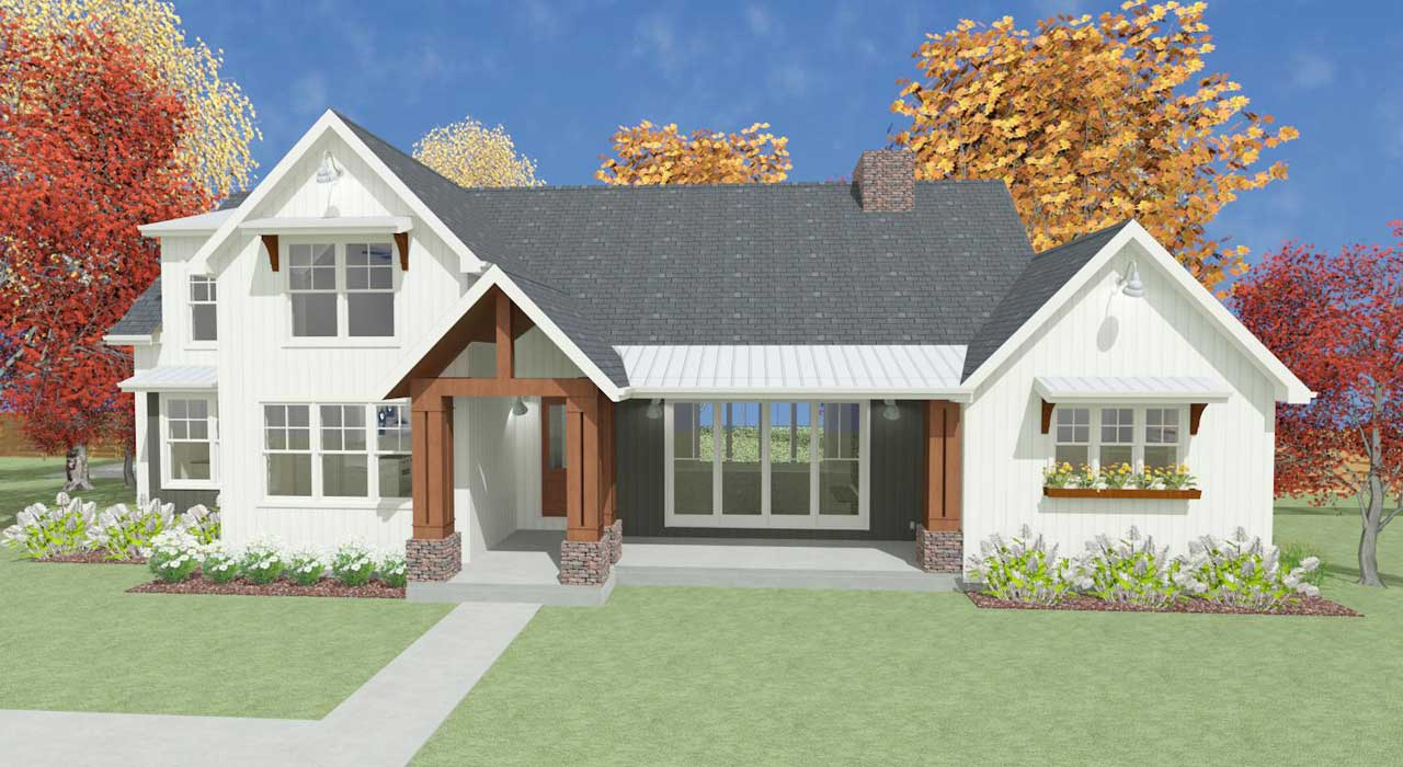 Modern-farmhouse Style Floor Plans Plan: 119-107