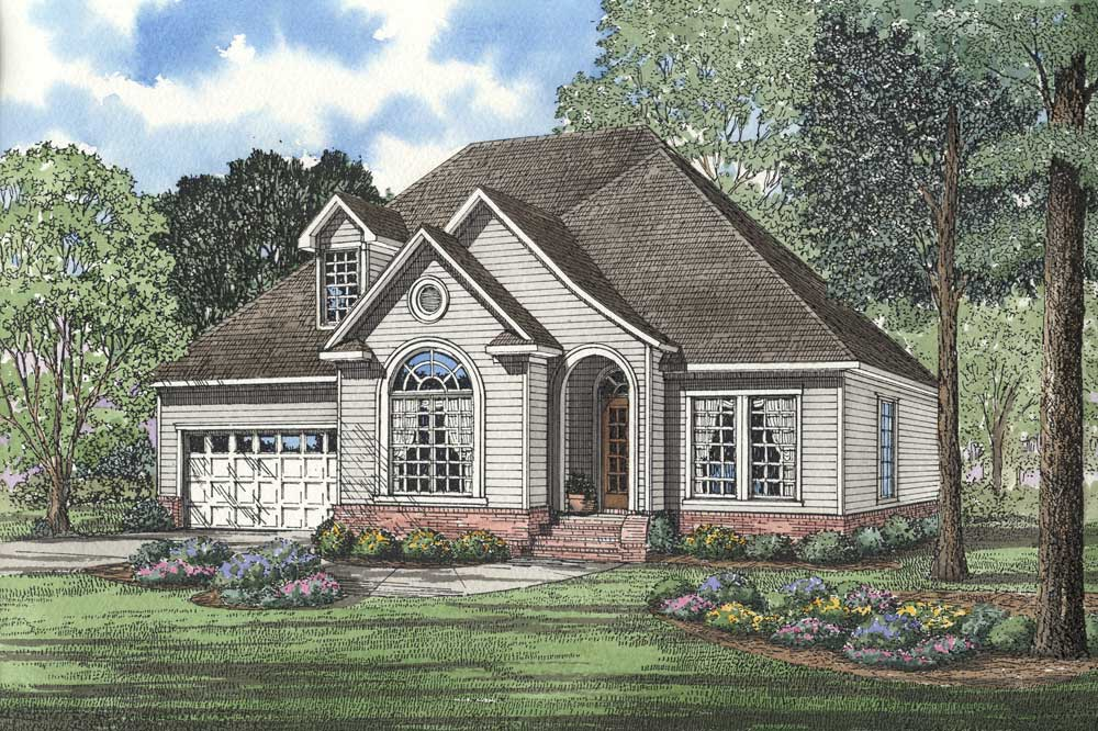 French-country Style Home Design Plan: 12-1034