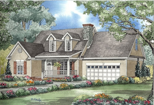 Country Style Home Design Plan: 12-1046