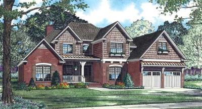 English-country Style Home Design Plan: 12-1076