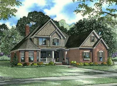 English-country Style Home Design Plan: 12-1078