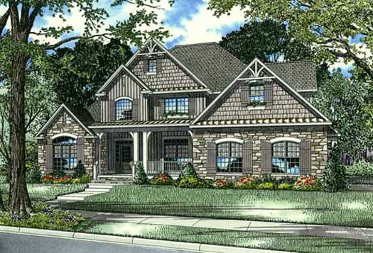 English-country Style House Plans Plan: 12-1079