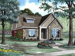 English-Country Style Home Design Plan: 12-1081